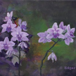 'Orkide'  24 x 30 cm, akryl på lerret, 2014, Kr 2000,-