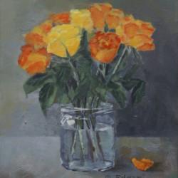 'Roser i glasskrukke'  30 x 24 cm, akryl på lerret, 2014.