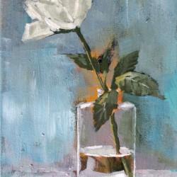 'Rose i glassvase'  30x20 cm, akryl på lerret, 2014