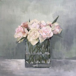 'Roser i vase'  30x30 cm, akryl på lerret, 2014