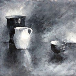 'Monokromt stilleben'  akryl på papir, 42 x 60 cm, 2014