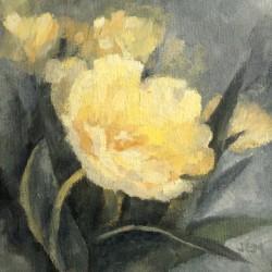 Tulipaner III, 15 x 15 cm, olje på maleplate, 2015.