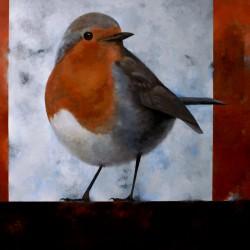 'Rødstrupe'  95 x 120 cm, akryl på lerret, 2009, Kr 8000,-