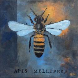 'Honey bee' / 'Honningbie', 20 x 20 cm, akryl på lerret, 2015, solgt.