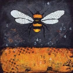 'Bumblebee icon' / 'Humleikon'  20 x 20 cm, akryl på lerret, 2015, Kr 1000,- tilgjengelig Totenvika galleri og kulturkafe