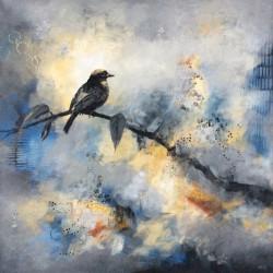 'Winter Scene' / 'Vinterscene', 50 x 50 cm, akryl på lerret, 2016, solgt.