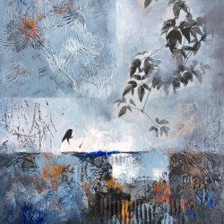 'Recollections II' / 'Erindringer II', 30 x 24 cm, mixed-media på lerret, 2016, solgt.