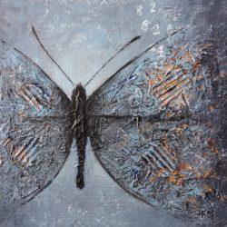 'Butterfly II' / 'Sommerfugl II', 20 x 20 cm, mixed-media på lerret, 2016, solgt