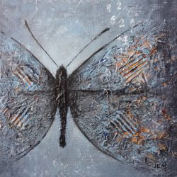 'Butterfly II' / 'Sommerfugl II', 20 x 20 cm, mixed-media på lerret, 2016