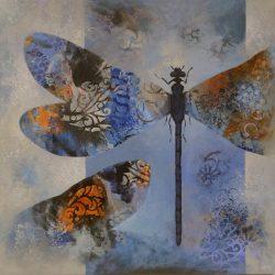 'Damselflies' / 'Vannymfer', 50 x 50 cm, akryl på lerret, 2017, solgt.