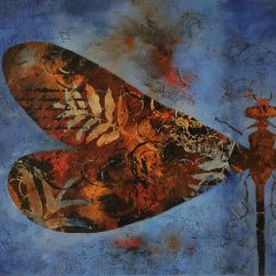 'Fragment' (Damselfly / Vannymfe), 24 x 30 cm, akryl på lerret, 2017, solgt.