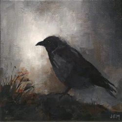 'Crow' / 'Kråke', 20 x 20 cm, akryl på lerret, 2015/17, solgt.