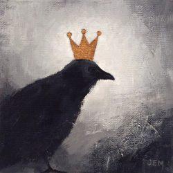 'Bird Prince' / 'Fugleprins', 15 x 15 cm, akryl på lerret. Gull på krone og kanter, 2015/17, Kr 800,- tilgjengelig Totenvika galleri og kulturkafe