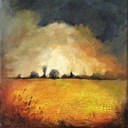 'Autumn scene I' / 'Høst scene I', 20 x 20 cm, akryl på lerret, 2015, kr 1000,-
