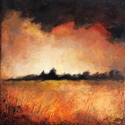 'Autumn scene III' / 'Høst scene III', 20 x 20 cm, akryl på lerret, 2015, Kr 1000,-