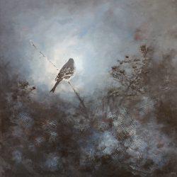 'Frostmorgen', 60 x 60 cm, mixed-media på lerret, solgt.