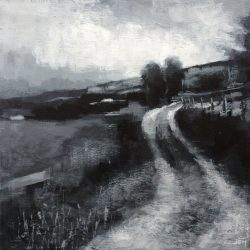 'Old Farm Road' / 'Gammel gårdsvei', 30 x 30 cm, akryl på lerret, 2017, solgt.