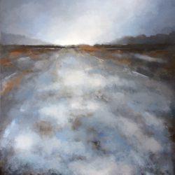 'The snow melts and the light returns' / 'Snøen smelter og lyset vender tilbake', 100 x 80 cm, akryl på lerret, 2017, Kr 7500,-
