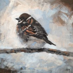 'Wintry Tree Sparrow' / 'Vinterlig pilfink', 20 x 20 cm, akryl på lerret, 2017, Totenvika galleri og kulturkafe